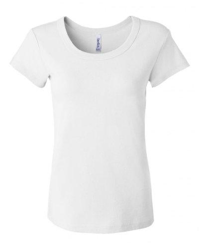 Bella Ladies Classic Short Sleeve Scoop Neck Tee Shirt, Ladies Small, White