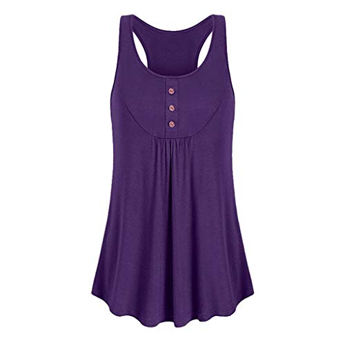 (Yucode Women Solid Sleeveless Vest Loose O-Neck Button Blouse Sport Tank Top Pleated top Basic Tee Shirt Blouse Purple)