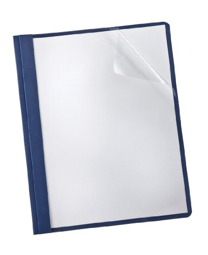 Oxford Clear Front Report Cover, 3-Prong, 1/2 Capacity, Navy Back Cover, 25 per Box (53343EE)