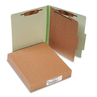 Pressboard 25-Pt. Classification Folder, Letter,4-Section, Leaf Green, 10/Box by ACCO Brands