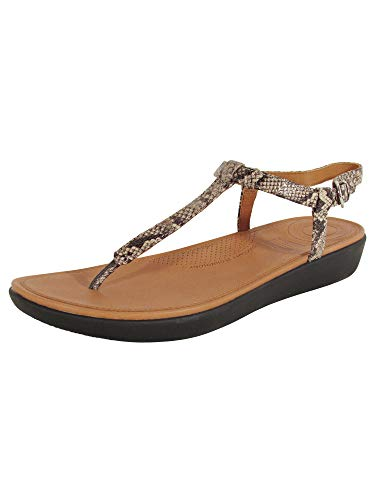 FitFlop Women's TIA Toe-Thong Sandals Flat, Taupe Snake, 8 M US ()