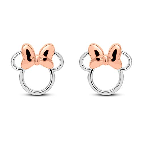 Gemstar Jewellery 14K Gold Plated 925 Sterling Silver Mickey Minnie Mouse Stud Earrings Push Back
