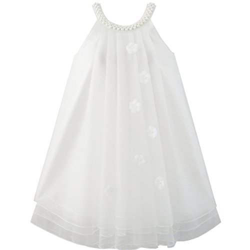 Sunny Fashion JV54 Flower Girls Dress Halter Dress Pearl Party Wedding Birthday Size 7 White