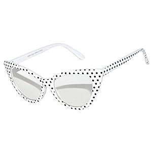 Vintage Cat Eye Clear Lens Sunglasses White Dots Frame OWL ®