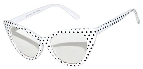 Vintage Cat Eye Clear Lens Sunglasses White Dots Frame OWL - Eyeglasses White Framed