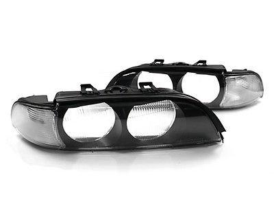 97-00 BMW E39 5-SERIES EURO CLEAR CORNER REPLACEMENT HEADLIGHT LENSES W/ FRAMES ()