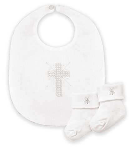 Stephan Baby Infant Boy/Girl Embroidered Christening Bib and Bootie Socks Set, White -