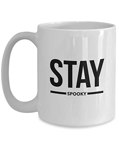 (Funny Happy Halloween Coffee Mug 15 oz Ceramic Pumpkin Scary Cup | Unique Quote Idea for teen men women |)