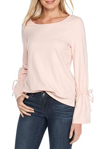 Crown & Ivy Womens Tie Sleeve Split Hem Sweatshirt (Pillar Pink, X-Small)