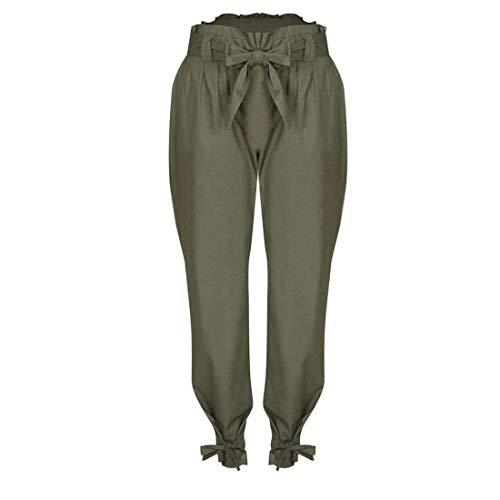 Alta Monocromo Di Modern Damigella Tasche Eleganti Farfalla Con High Primaverile Cravatta Estivi Stile Verde A Donna Waist Pantaloni Pants Baggy Vita Inclusa Moda Lunga Cintura Stoffa Trousers 6wS1q5