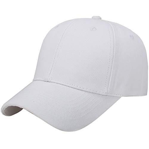 Riverdalin Unisex Baseball Cap Women Men Solid Color Outdoor Sun Caps Beach Anti-UV Sun Protection Visors Hip-Hop Hat (White) -