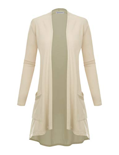 Sweater New Womens Cardigan - BIADANI Women's New TR Fabric Open Front Cardigan with Pockets Ivory Large