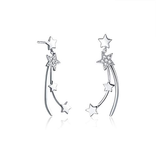 Lucky Star Earrings - AOBOCO Sterling Silver Lucky Star Earrings Dangle Shooting Star Earrings,Fine Jewelry Gift for Women Girls