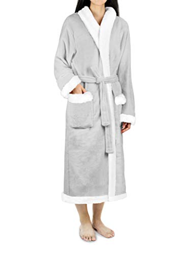 (Premium Women's Sherpa Fleece Robe | Luxurious Soft, Warm, Plush Bathrobe)