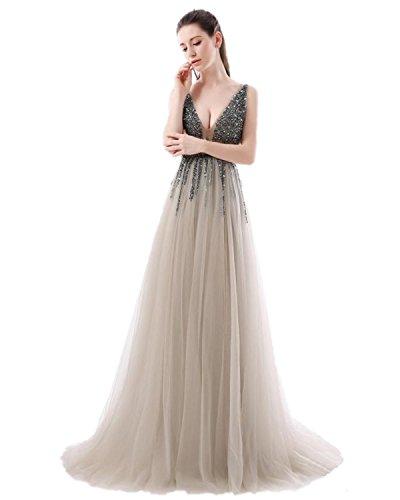 Kleid Elegant Lang Ausschnitt AbschlussballKleider Damen Abendkleider KAIDUN Grau V 16qa5ZCw