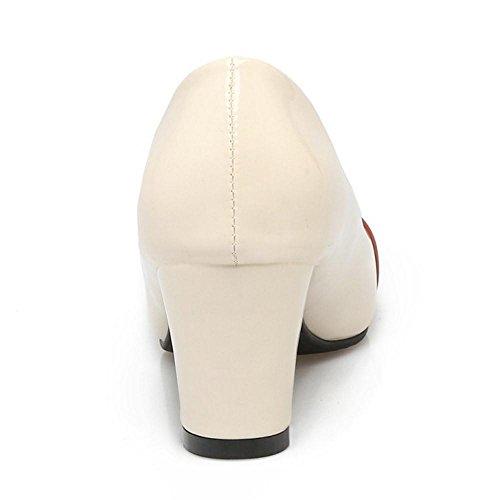 ... COOLCEPT Zapato Mujer Western Tacon Ancho medio Sin Cordones Mixed  Colors Court Zapatos With Hebilla Marron ... 36a73acd047d