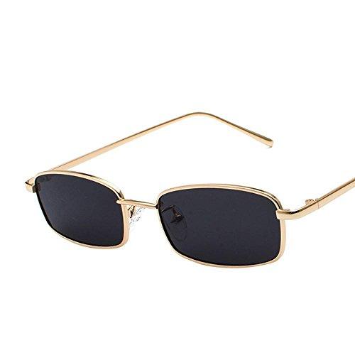 Aoligei Morceau d'océan transparent Lunettes de soleil Fashion petit en carré cadre métal verres rue shoot lunettes de soleil I9PvN