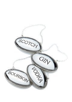 James Scott liquor Labels Oval Silver Plated Engraved-Vodka, Bourbon, Scotch And Gin (Silver Plated Beverage)