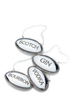 James Scott liquor Labels Oval Silver Plated Engraved-Vodka, Bourbon, Scotch And - Bottle Gin
