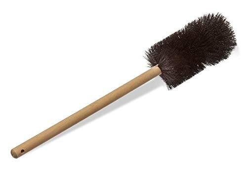 Justman Brush 4117 Beaker Brush, Black Nylon, Heavy Double Tufted End, Wood Handle, 3' Diameter, 5' Brush Length, 1' Height, 1' Wide, 16' Length, Borosilicate Glass