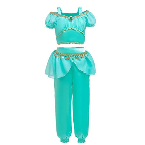 Tsyllyp Girls Princess Jasmine Costume Party Dress Up Halloween Cosplay Outfit