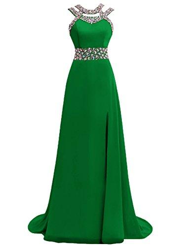 Abendkleider Festkleider Ballkleider A Hochzeitskleid Linie Chiffon Grün Damen Lang Bq1wPxEnEF