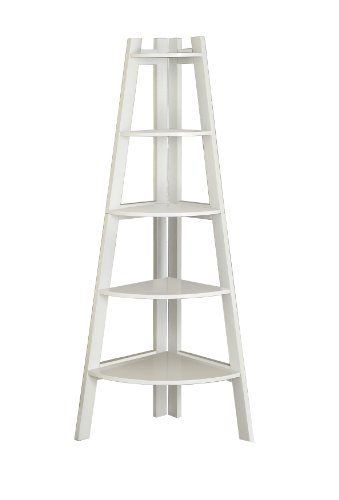 Furniture of America Andrea 5-Tier Corner Bookshelf, White