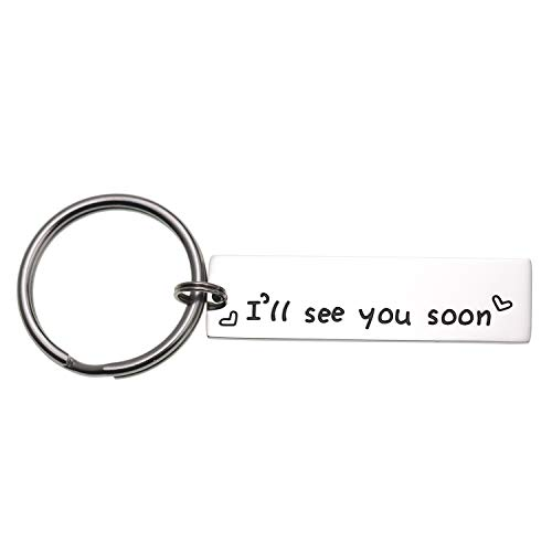 LParkin I'll See You Soon Keychain Valentine's Gift Boyfriend Girlfriend Gift Long Distance Relationship Friends BFF Key Chain (Keychain) (Best Valentine Gift For Long Distance Boyfriend)