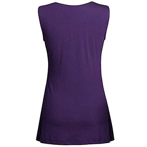 V La Trendy Violet Manches sans Tshirt Taille Uni Cou Costume Debardeur Femme Chic Mode Shirt Jeune Tshirts Large Mode Plus Manche Pin Haut Camisoles Up Et CBvqXwp