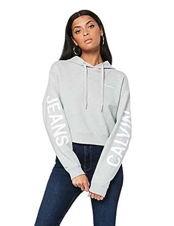 Calvin Klein Jeans Women's Crop Institutional Logo Hoodie, Light Grey Heather, XS