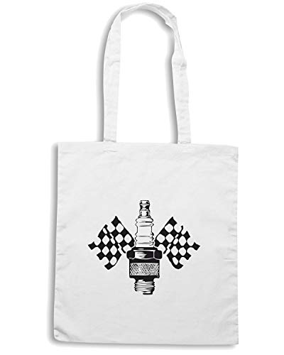 AND Borsa Bianca Shopper SPARK PLUG FLAGS OLDENG00255 xqqBXwSf