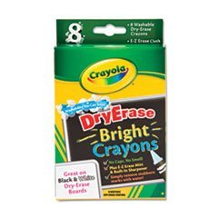 Washable Dry Erase Crayons w/E-Z Erase Cloth, Assorted Bright Colors, 8/Pack