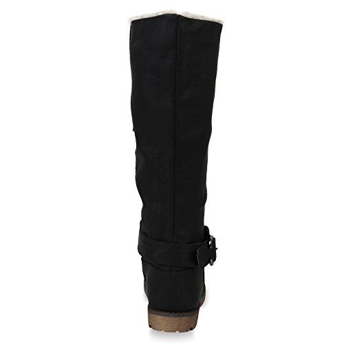 Stiefelparadies Warm Gefütterte Stiefel Damen Winterstiefel Wildleder-Optik Boots Schnallen Profilsohle Winter Schuhe Flandell Schwarz