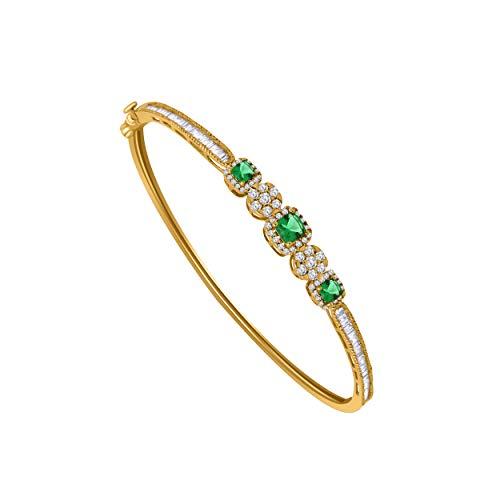 (10K Yellow Gold Multi-Shape Sim. Gemstone & 0.79 Ct Diamond Halo Style Bangle Bracelet (emerald & real diamond))
