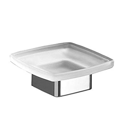 Gedy Lounge Square Frosted Glass Soap Dish with Polished Base Chrome Nameeks 5451-13