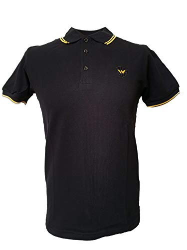 (Warrior England UK Men´s Pique Twin-Tipped Polo Shirt Black Yellow Skin Mod Punk (Large (L) Slim-Fit))