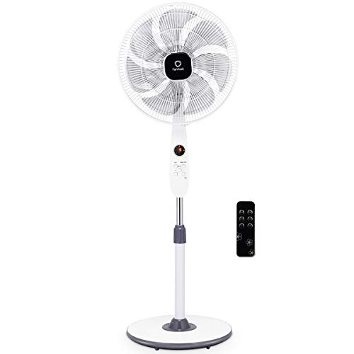 COSTWAY Pedestal Fan, 18-Inch Adjustable Oscillating Fan, Floor Standing Pedestal Fan with 7 Blades, Automatically Wind Speed, 12 Hours Time Setting, Remote Control, -