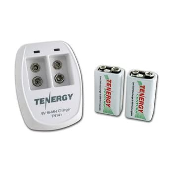 Tenergy TN141 2 Bay 9V Smart Charger with 2 pcs Centura Low Self-discharge 9V NiMH Rechargeable Batteries