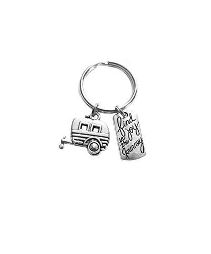 Mini Antiqued Silver Heart - Camper Trailer RV Mini Camper Camping Find Joy in the Journey Charm Keychain Gift