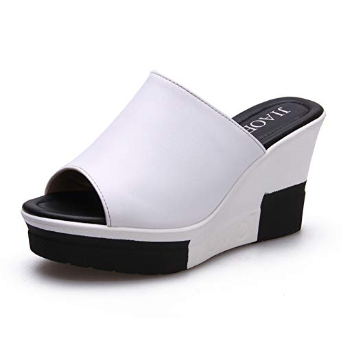 Paul Kevin Women's Wedges High Heel Sandals Summer Casual Shoes 9cm Heels White 6.5 Women (Casual High Heel Shoe)