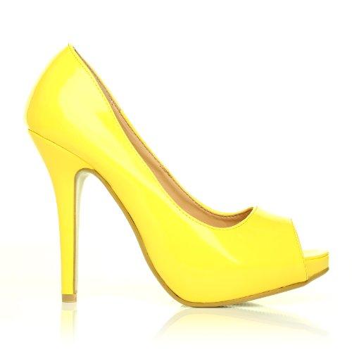 TIA Yellow Patent PU Leather Stiletto Very High Heel Platform Peep Toe Shoes