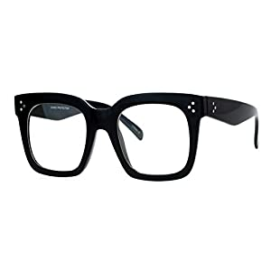 Super Oversized Clear Lens Glasses Thick Square Frame Fashion Eyeglasses Black