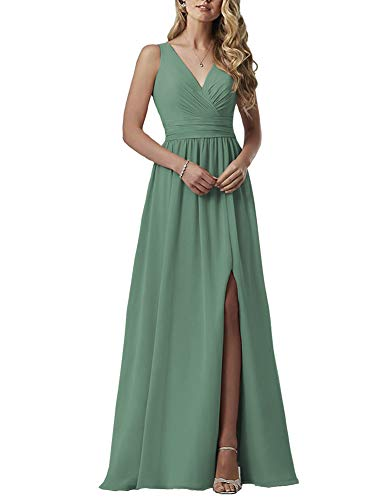 YageDress Beaded Pleat Chiffon Bridesmaid Dress 2019 with Slit for Women V-Neck Evening Party Gown Sofa Green 24W