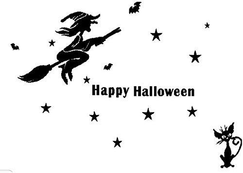 Hshi Halloween Witch Bats PVC Decoration DIY Removable Window Festival Wallpaper SK16401 ()