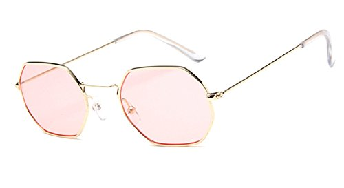 F&W Polygonal Marine Sunglasses Sunglasses Retro Square Glasses Men And Women Hipster Sunglasses,Pink