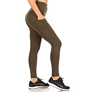 ShoSho Womens High Waist Yoga Pants Tummy Control Butt Sculpting Leggings Athleisure Workout Compression Tights W/Side Out Pockets Solid Olive Medium