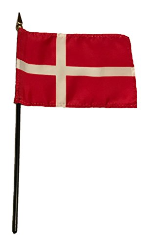 Small 4 X 6 Inches Mini 4x6 inches Miniature Desk & Table Flag Banner with Polyester Stick - Europe GRP 1 (1-Pack, Country: Denmark)