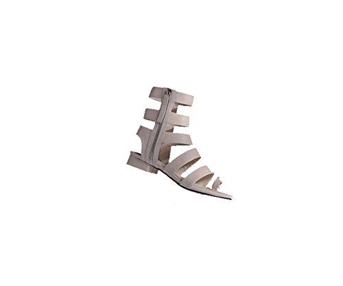 Europeos Y Romano Punta Alta Cuero Moda Larga Caña Americanos Verano De Blanco Con Estilo Botas Espesor Abierta Mujer Zapatos Sq1twAnC1