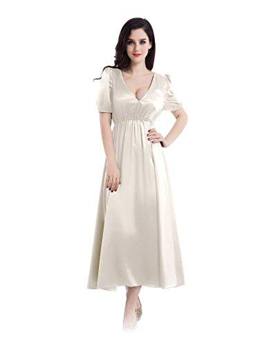 Bubble sleeves empire style dress sleepwear for women 22 momme silk (Silk Bubble Dress)