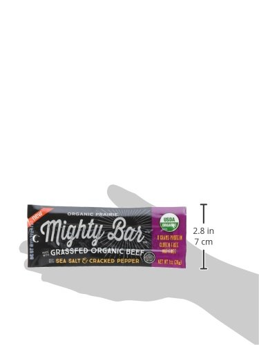 Large Product Image of 100% Organic Grass Fed Beef Bar, Gluten Free Snack, Sea Salt and Cracked Pepper, Mighty Organic, 1 oz (Pack of 12)